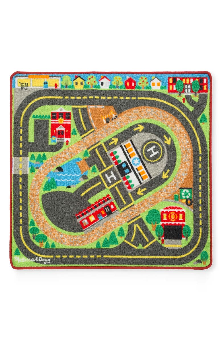 MELISSA & DOUG Deluxe Multi-Vehicle Activity Rug Set, Main, color, MULTI