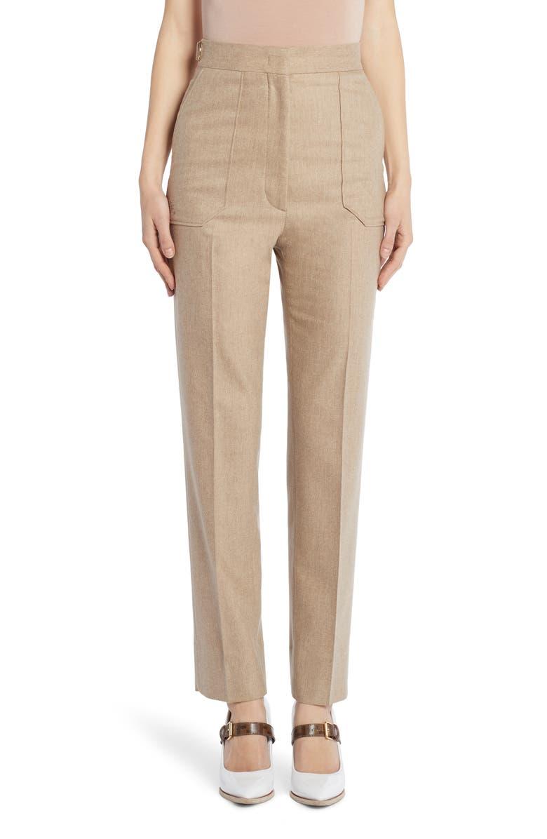 FENDI Stretch Wool & Cashmere Straight Leg Pants, Main, color, 250