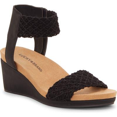 Lucky Brand Kierony Wedge Sandal- Black