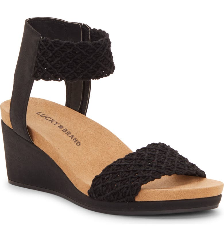 LUCKY BRAND Kierony Wedge Sandal, Main, color, BLACK LEATHER