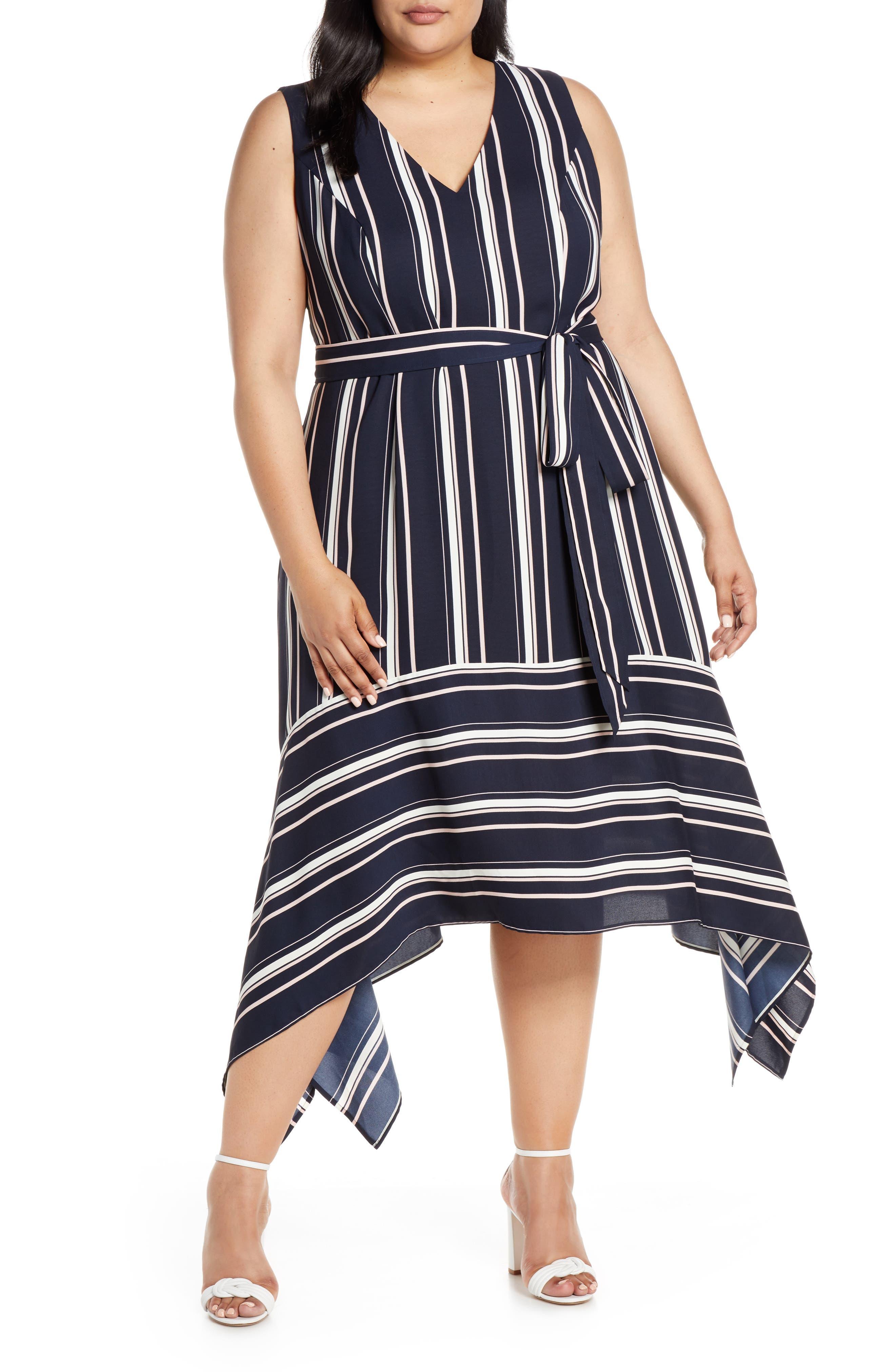 plus size women's vince camuto handkerchief hem stripe crepe dress, size 24w - blue