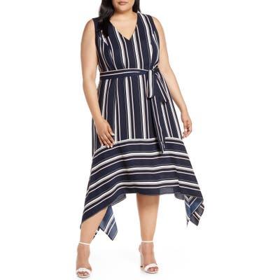 Plus Size Vince Camuto Handkerchief Hem Stripe Crepe Dress, Blue