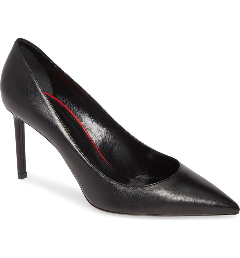 SAINT LAURENT Anja Pointy Toe Pump, Main, color, BLACK LEATHER