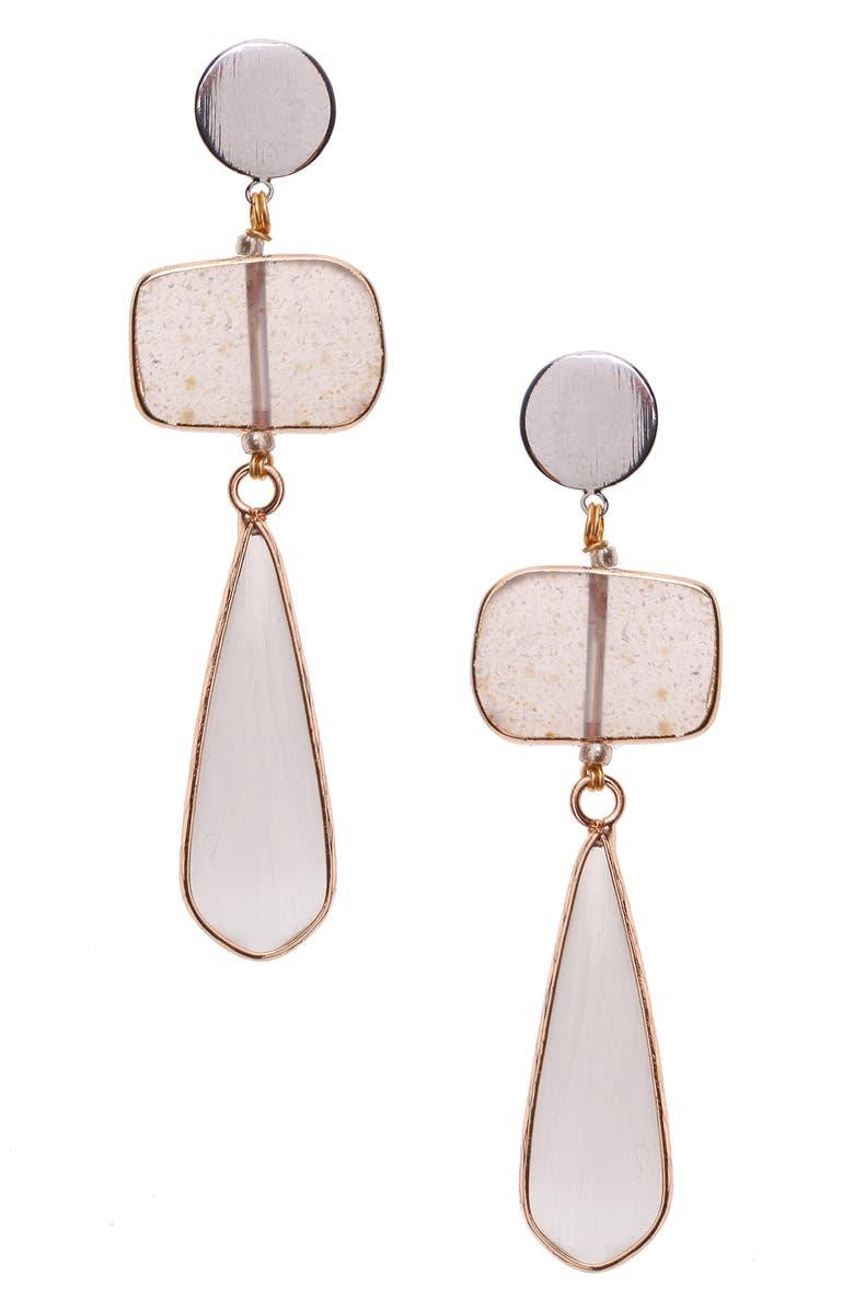 NAKAMOL CHICAGO Nakamol Design Quartz Drop Earrings, Main, color, ROSE/ QUARTZ/ WHITE