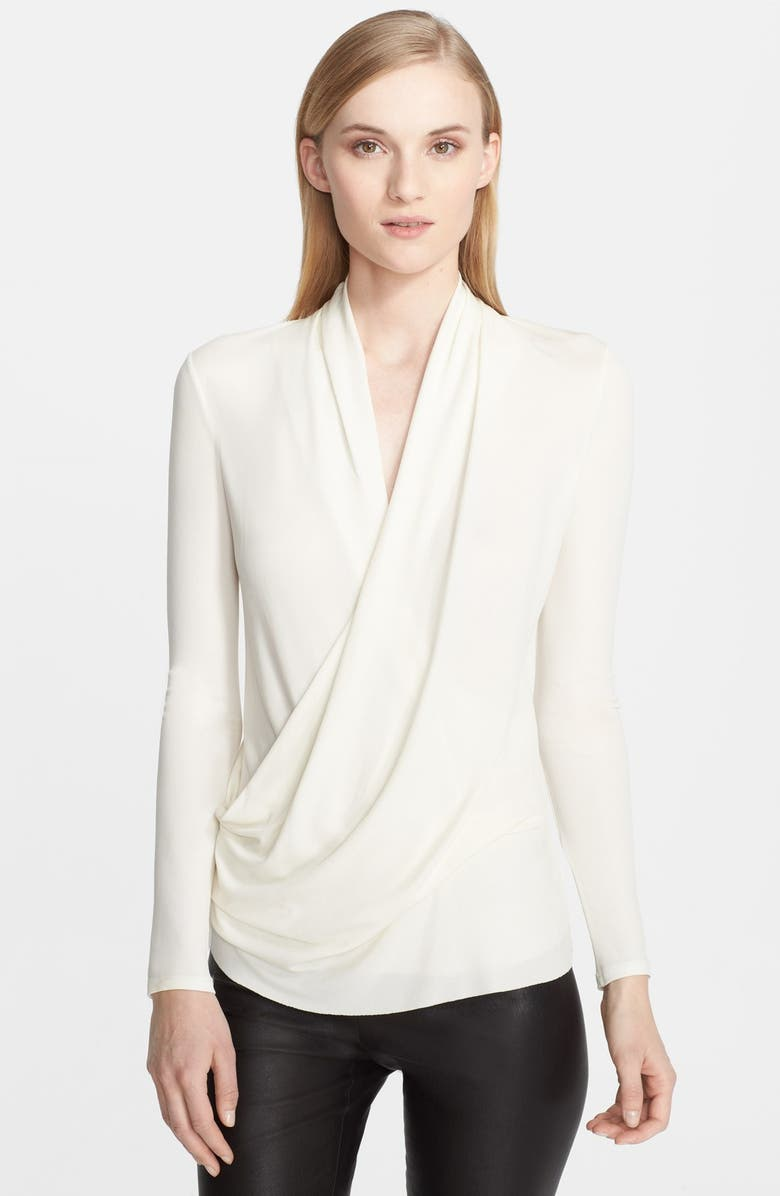 HELMUT LANG 'Helix' Draped Jersey Top, Main, color, 100