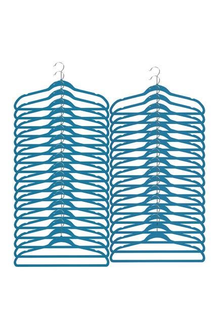 Image of RICHARDS HOMEWARES Soft Grip Blue Suit Hanger - Set of 35