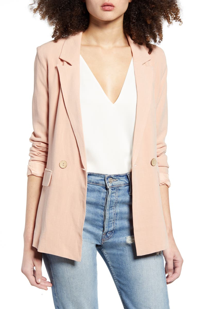 ALL IN FAVOR Double Breasted Linen Blend Jacket, Main, color, PINK