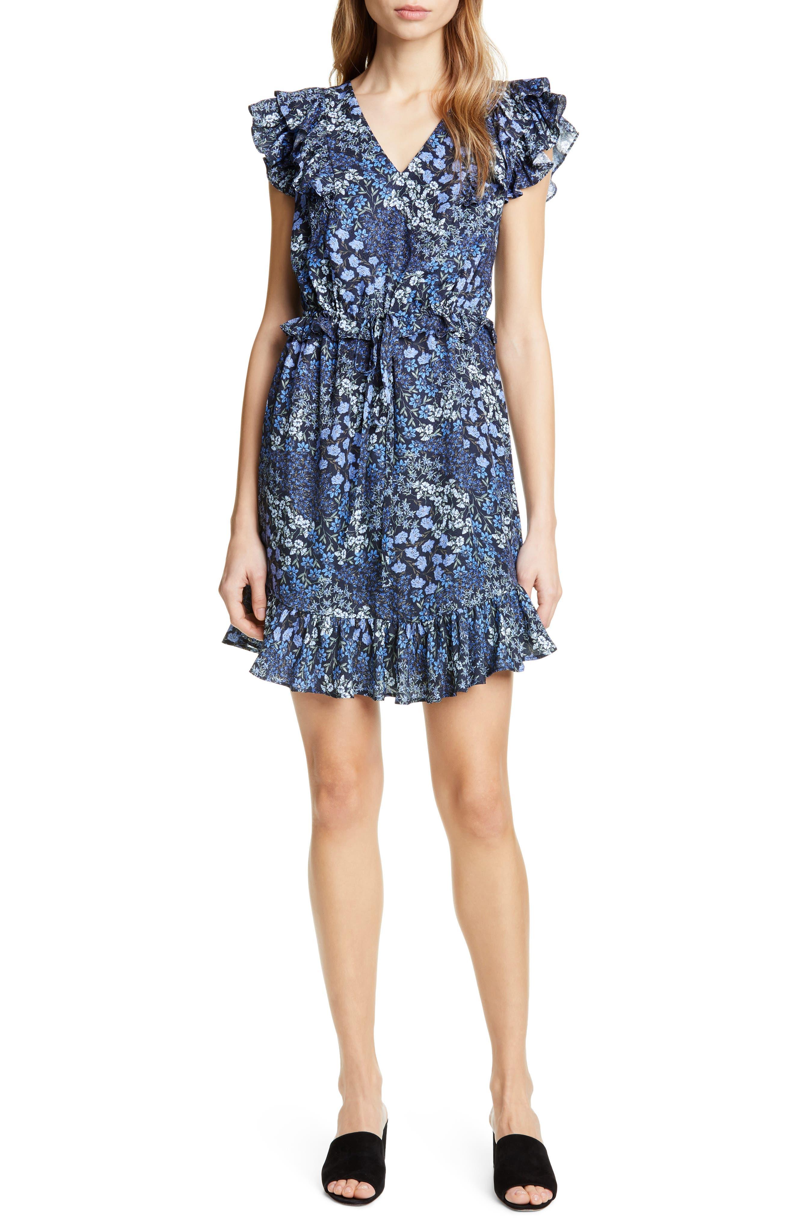 Rebecca Taylor Ava Ruffle Silk Minidress, Blue