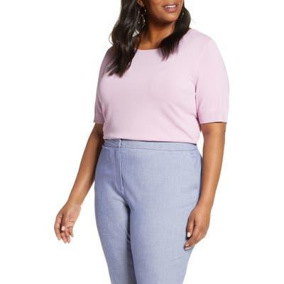 Plus Size Halogen Stripe Sweater, Purple