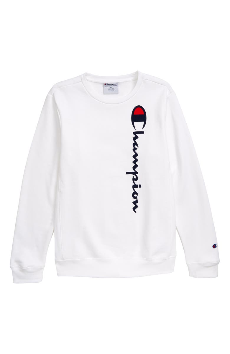 CHAMPION Flocked Logo Sweatshirt(Big Boys), Main, color, WHITE
