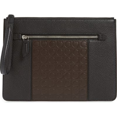 Salvatore Ferragamo Leather Travel Document Holder - Black