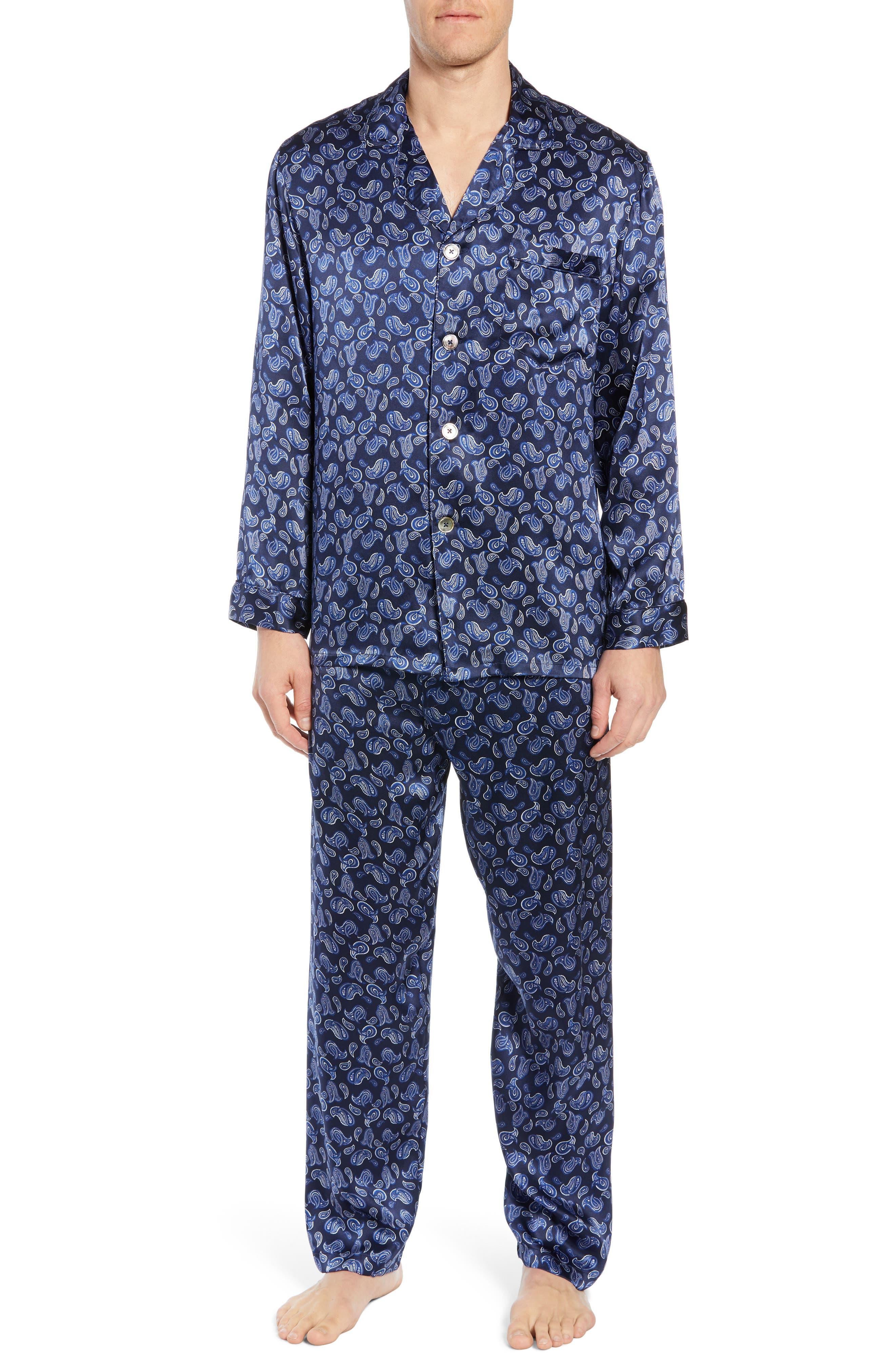 Majestic International Sapphire Silk Pajama Set, Blue