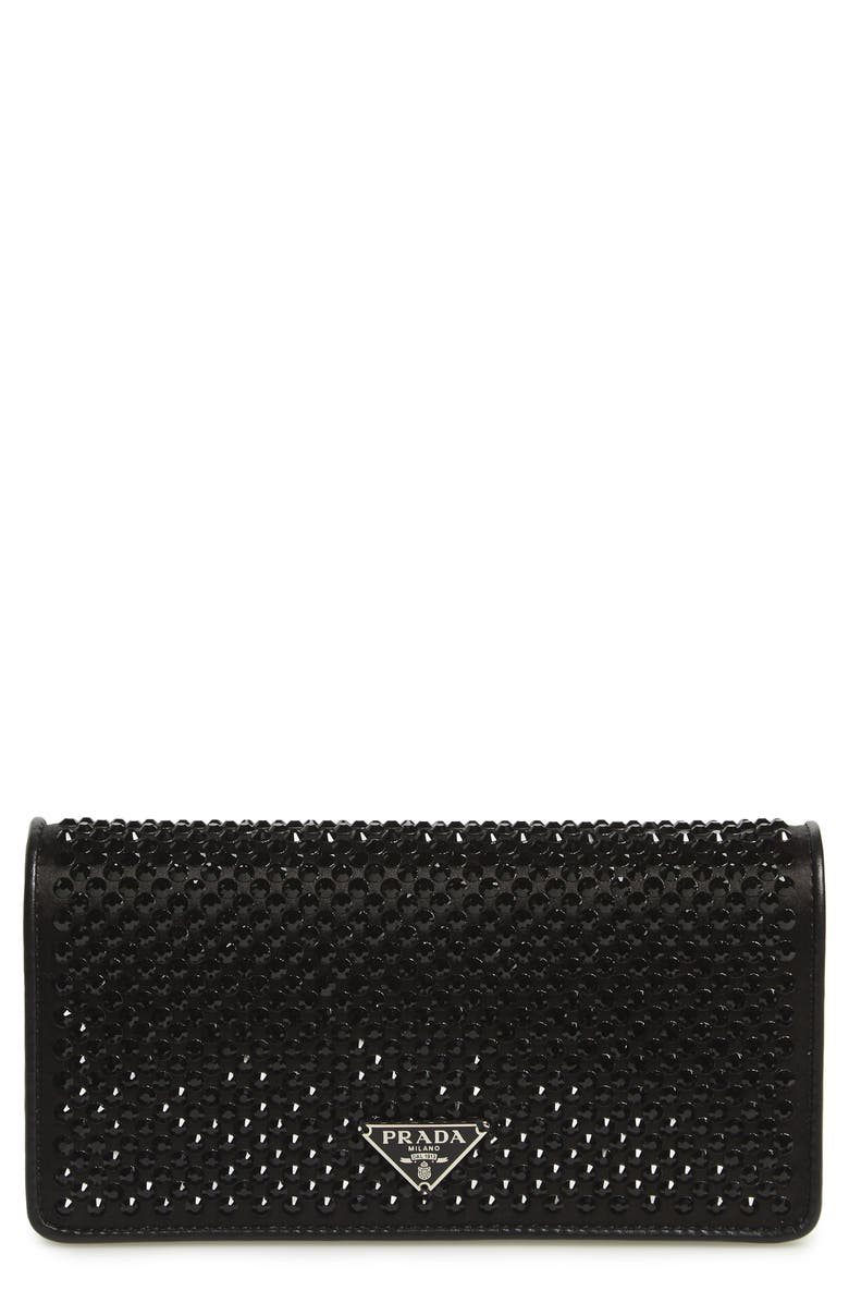 PRADA Crystal Embellished Leather Wallet on a Chain, Main, color, BLACK/ METAL