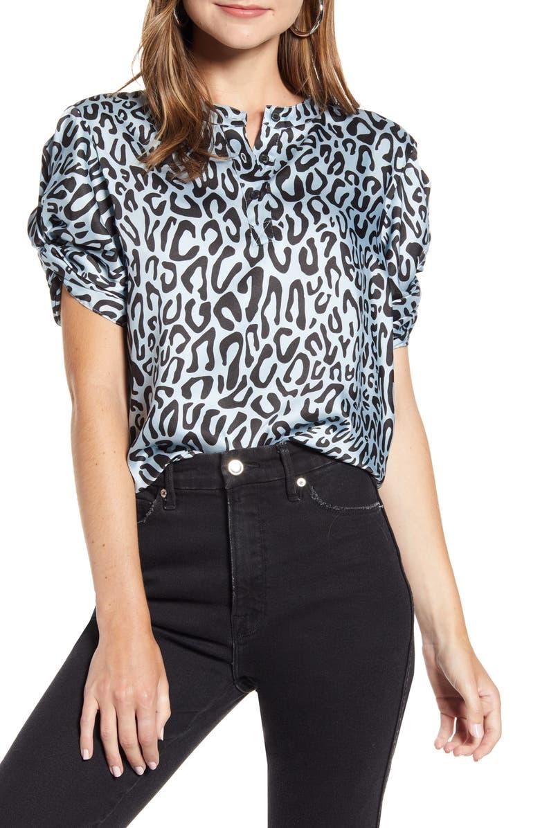 REBECCA MINKOFF Leopard Print Puff Sleeve Top, Main, color, SKY BLUE MULTI