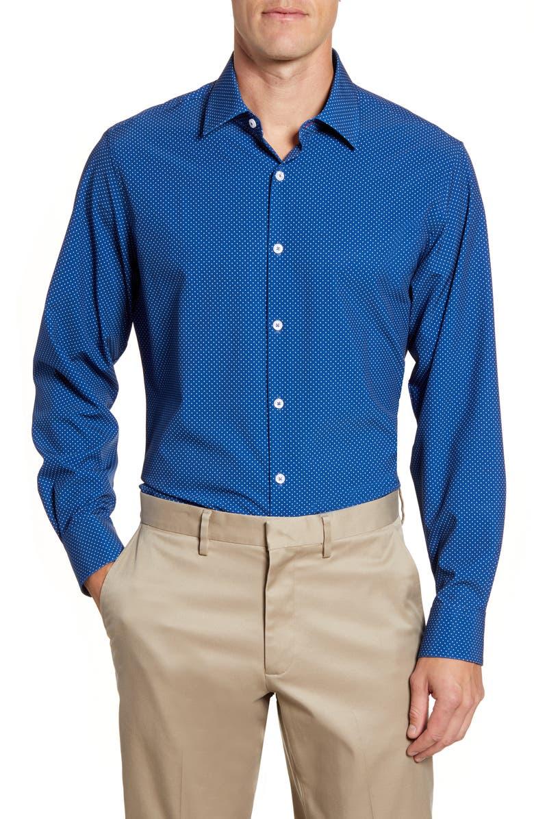 MOVE PERFORMANCE APPAREL Trim Fit Dot Dress Shirt, Main, color, 410