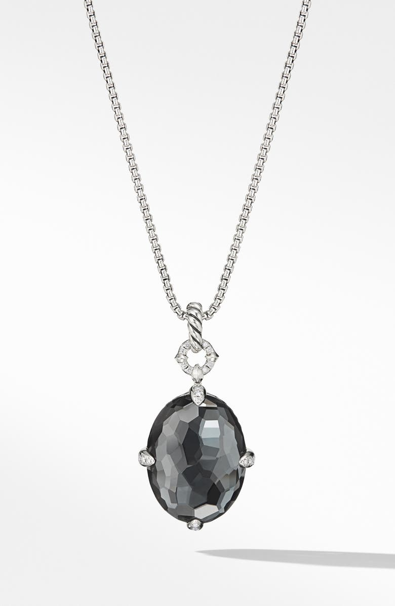 DAVID YURMAN Châtelaine<sup>®</sup> Small Pendant Necklace, Main, color, SILVER/ DIAMOND/ HEMATITE