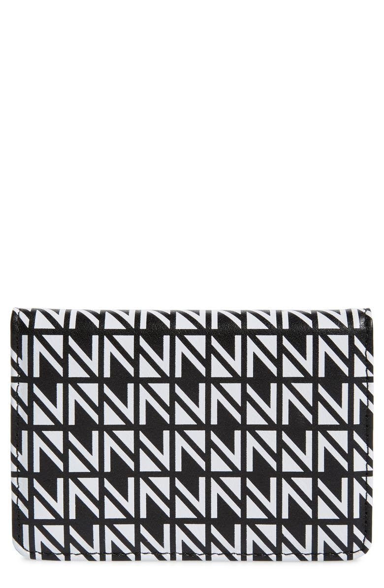 NORDSTROM Printed Leather Wallet, Main, color, BLACK ALLOVER MULTI