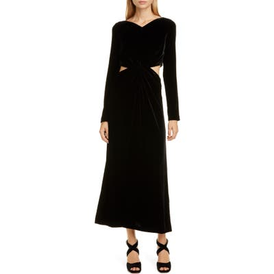 Rachel Comey Mast Cutout Waist Long Sleeve Velvet Dress, Black