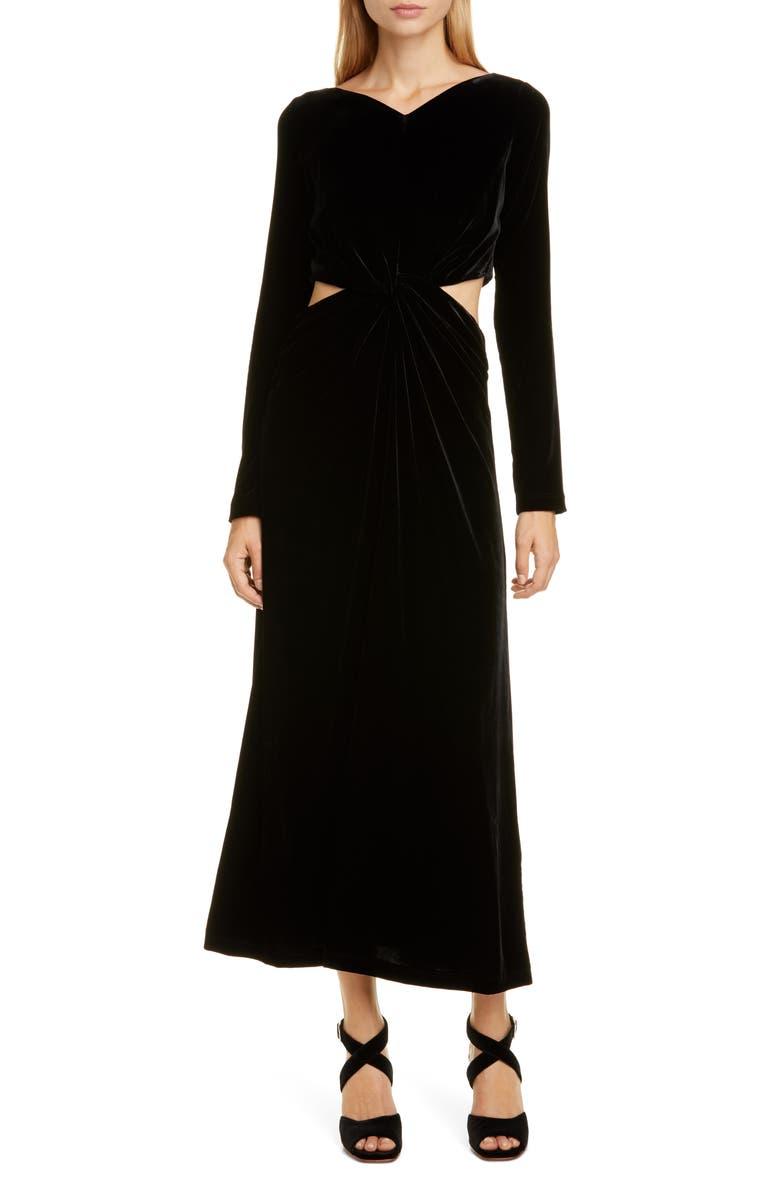 RACHEL COMEY Mast Cutout Waist Long Sleeve Velvet Dress, Main, color, BLACK