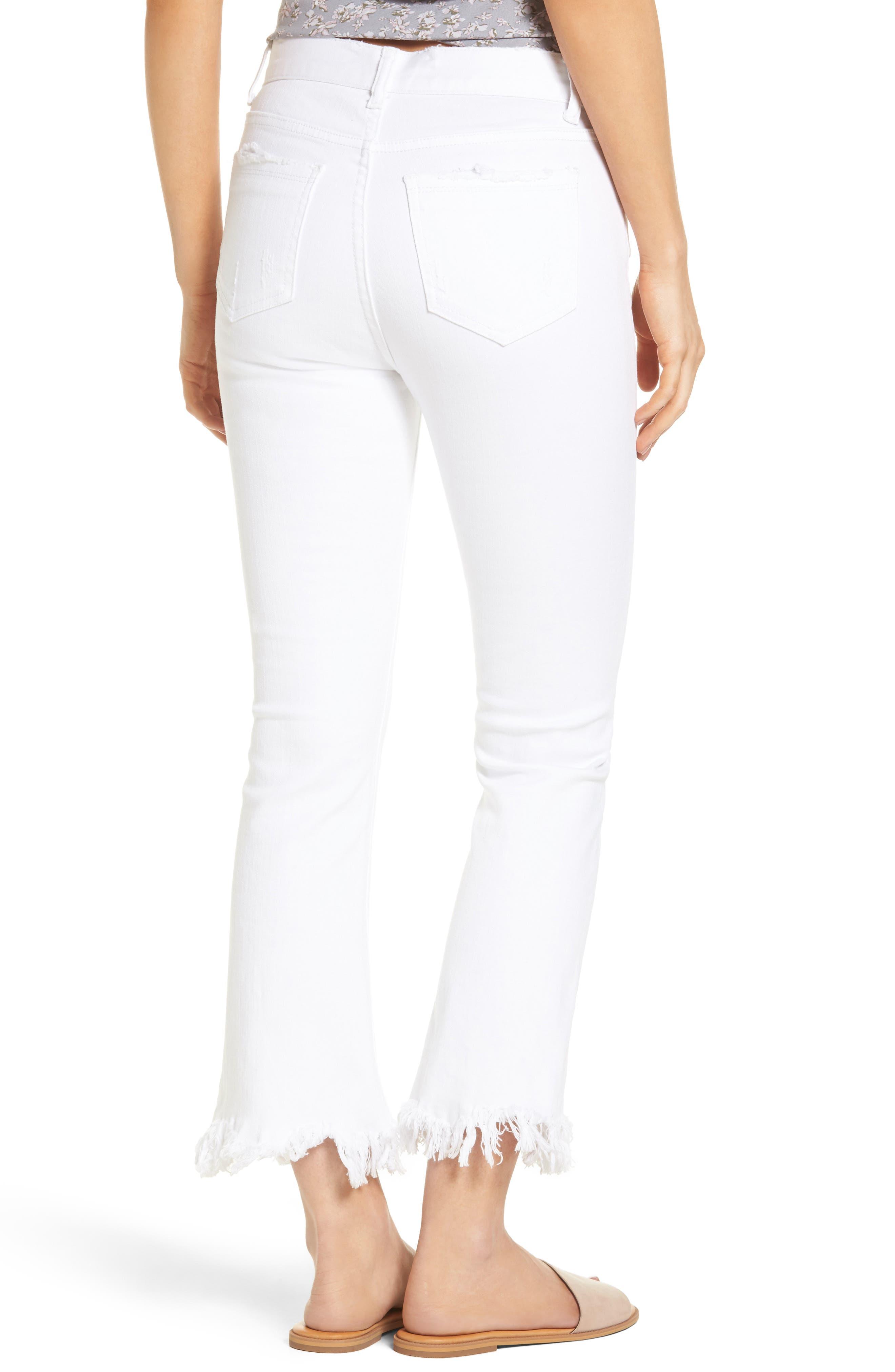 ,                             Frayed Hem High Rise Crop Jeans,                             Alternate thumbnail 8, color,                             100