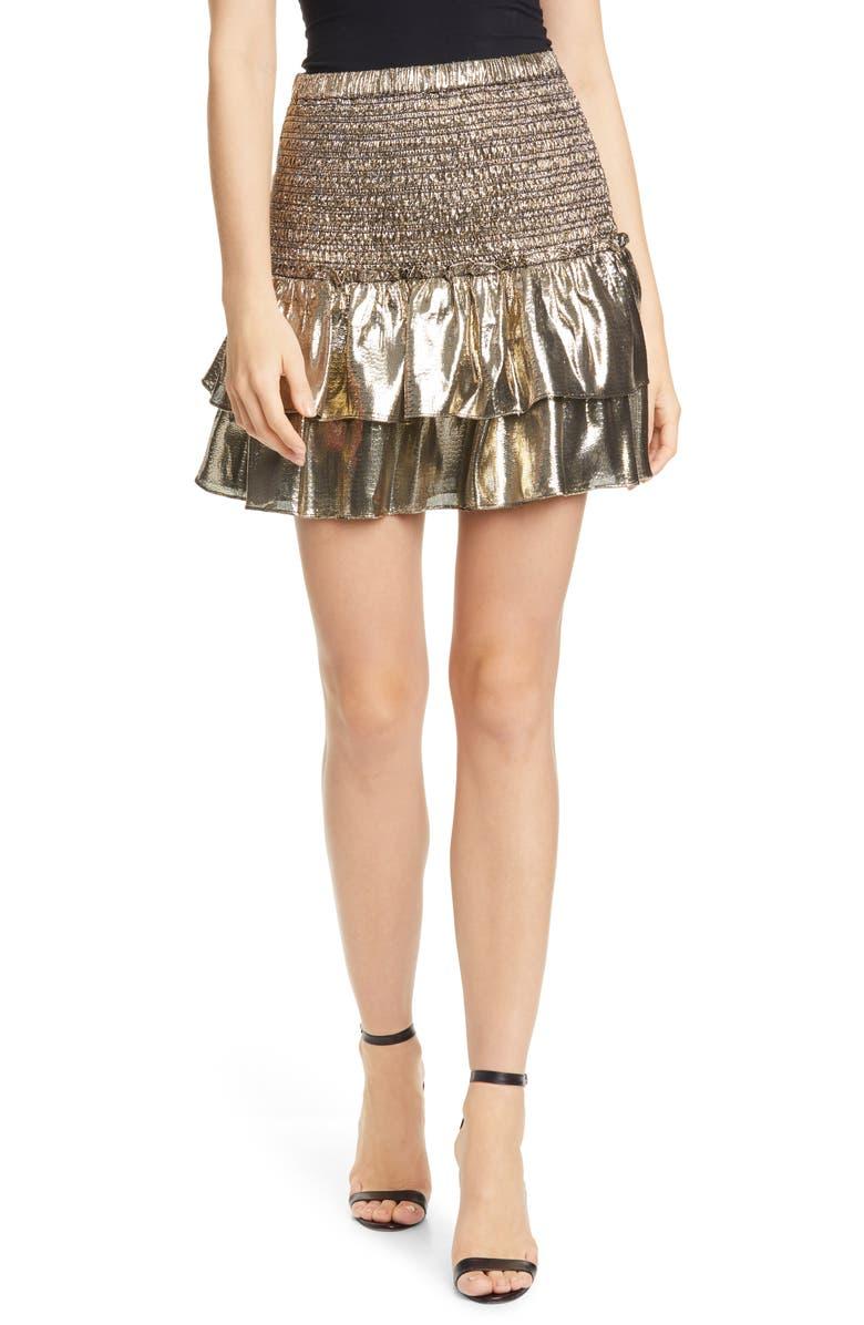 DOLAN Eleanor Ruffle Metallic Silk Miniskirt, Main, color, GOLD