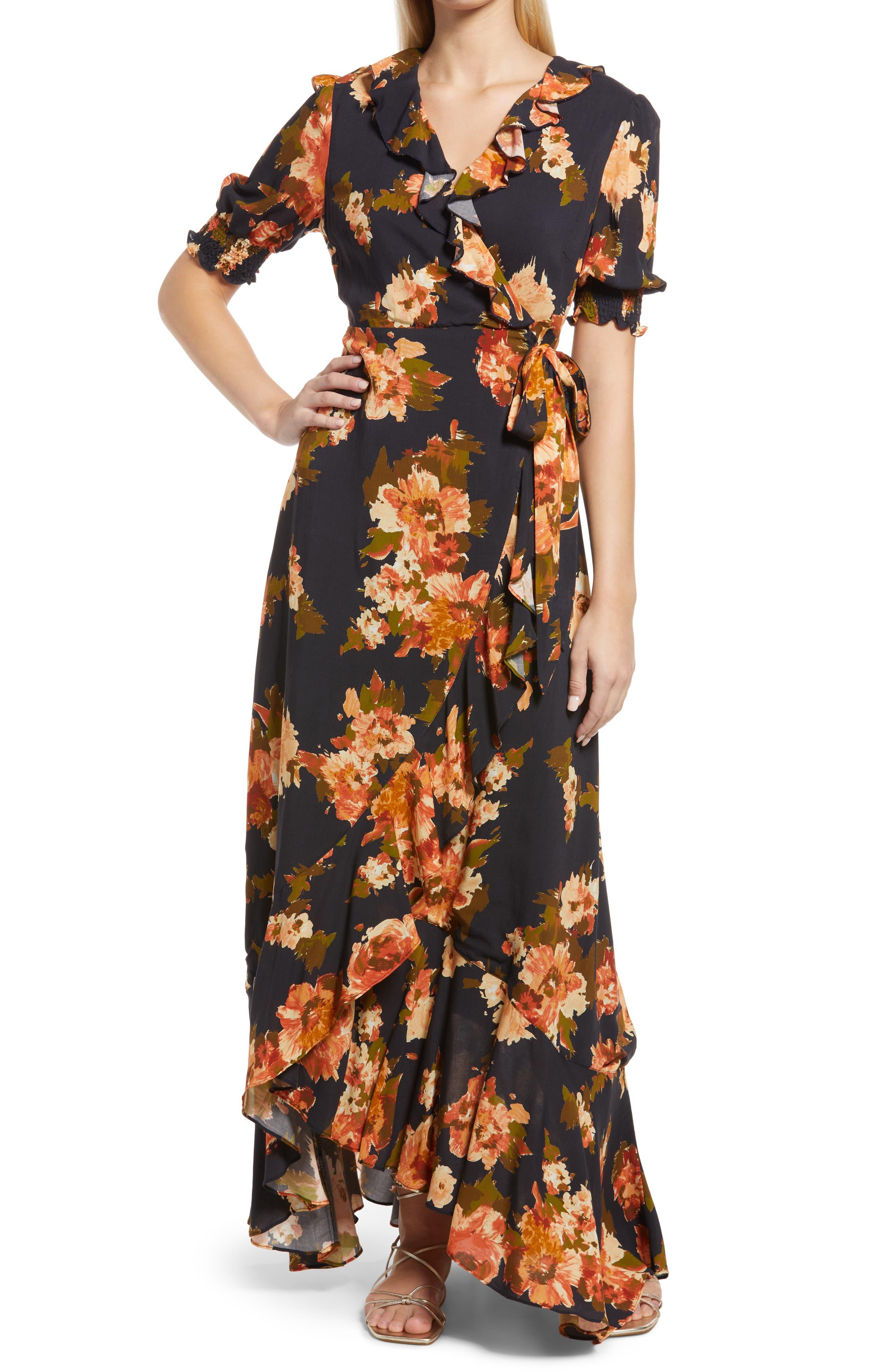 Floral Ruffled Wrap Dress