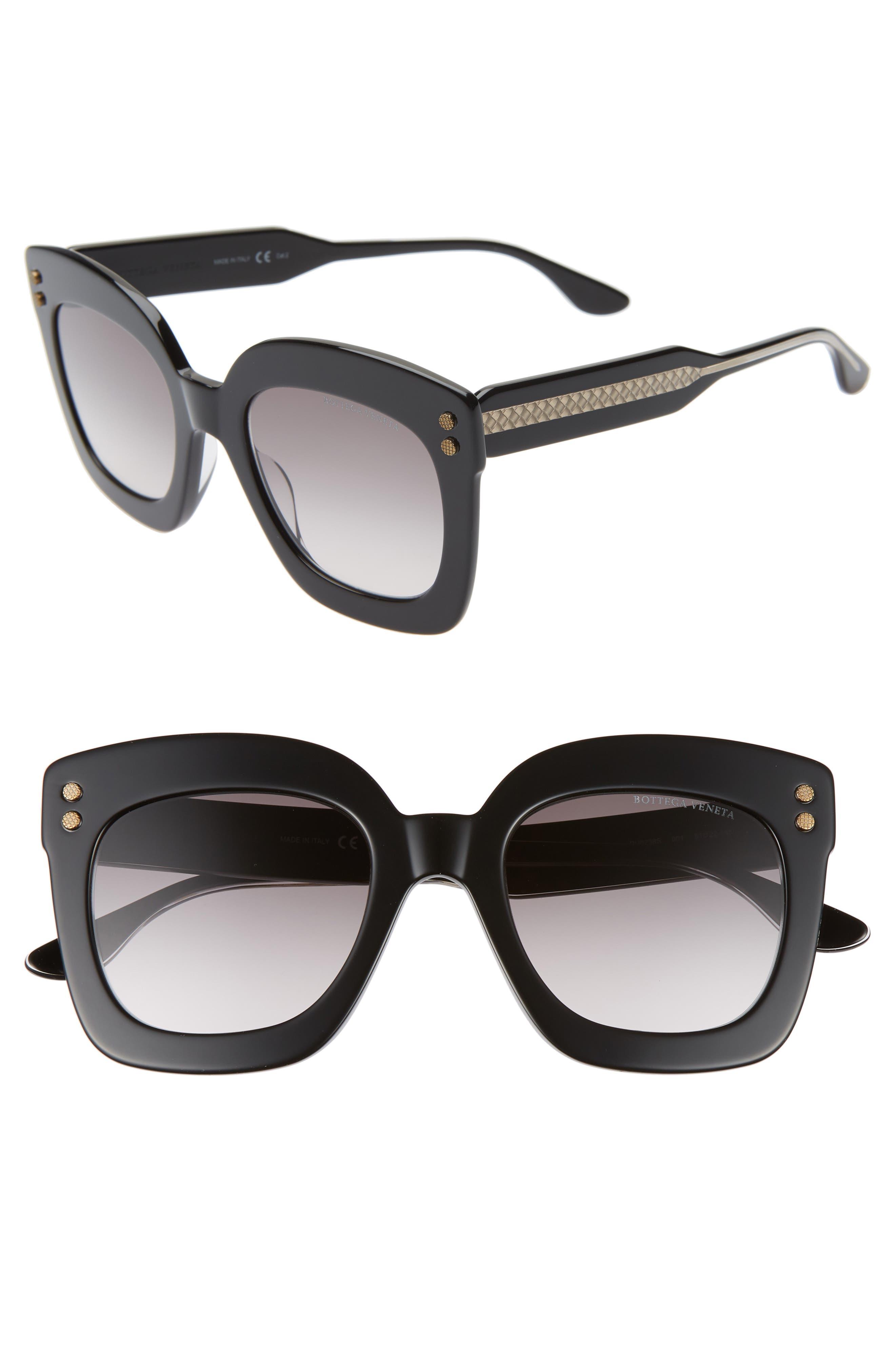 Bottega Veneta 51Mm Gradient Square Sunglasses - Black/ Grey