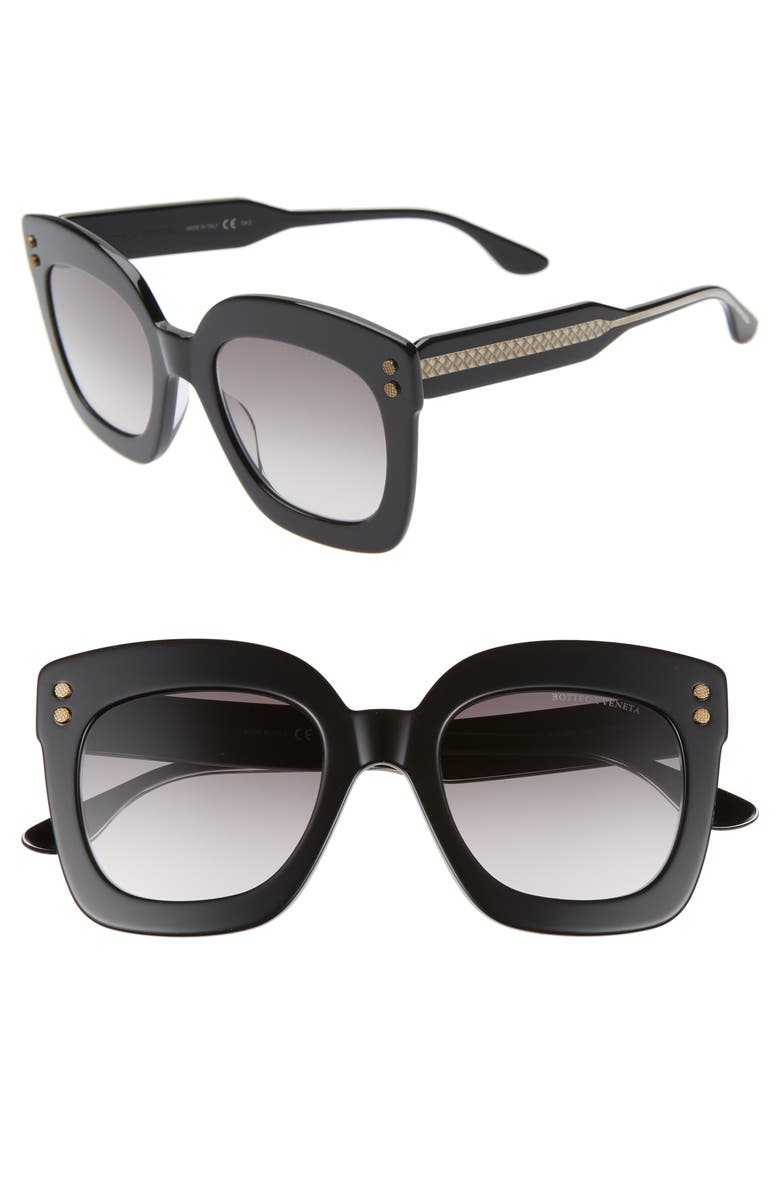 BOTTEGA VENETA 51mm Gradient Square Sunglasses, Main, color, BLACK/ GREY
