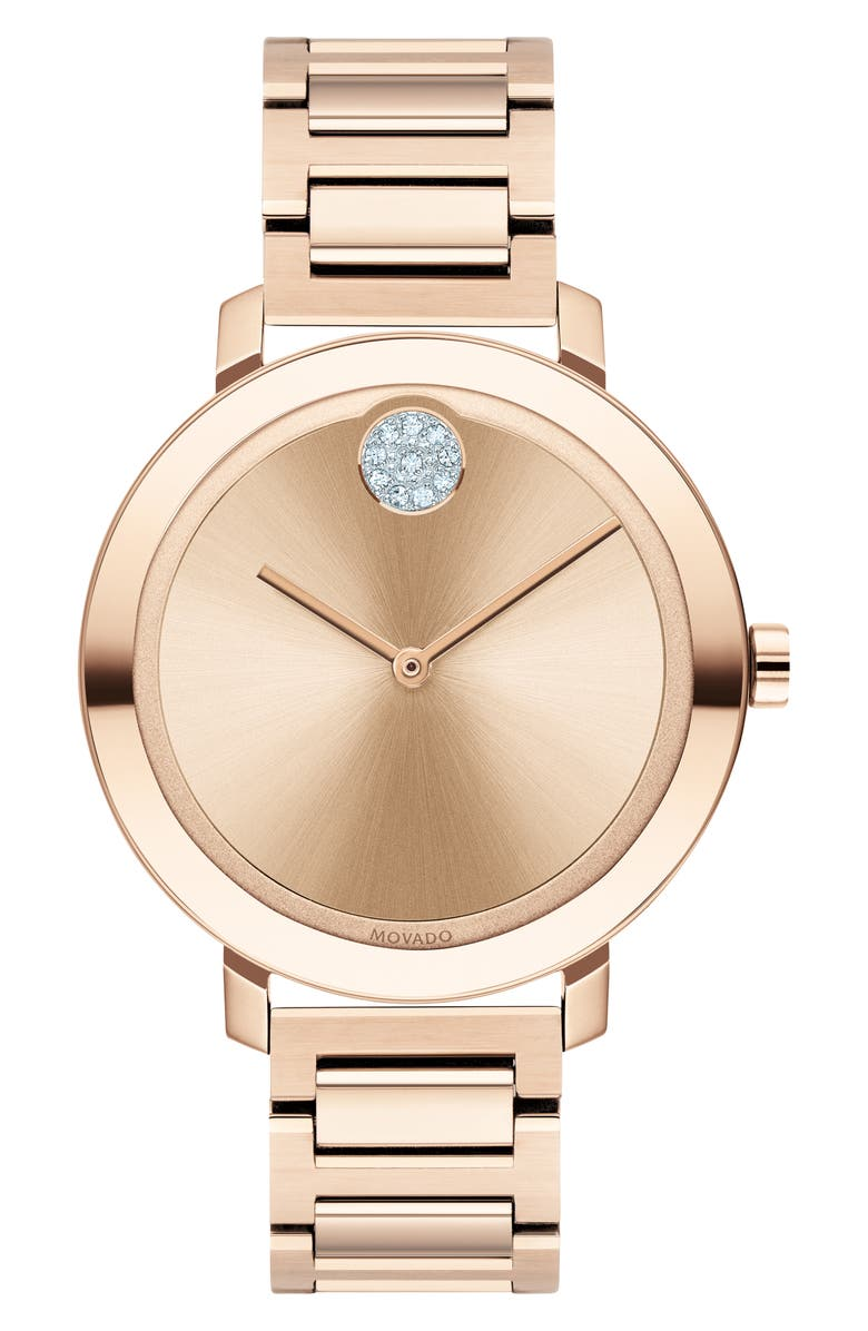 MOVADO Bold Bracelet Watch, 34mm, Main, color, ROSE GOLD