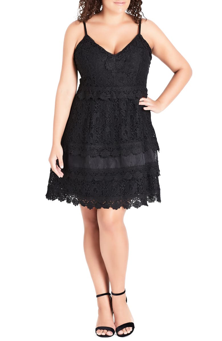 CITY CHIC Nouveau Cotton Blend Lace Fit & Flare Dress, Main, color, 001
