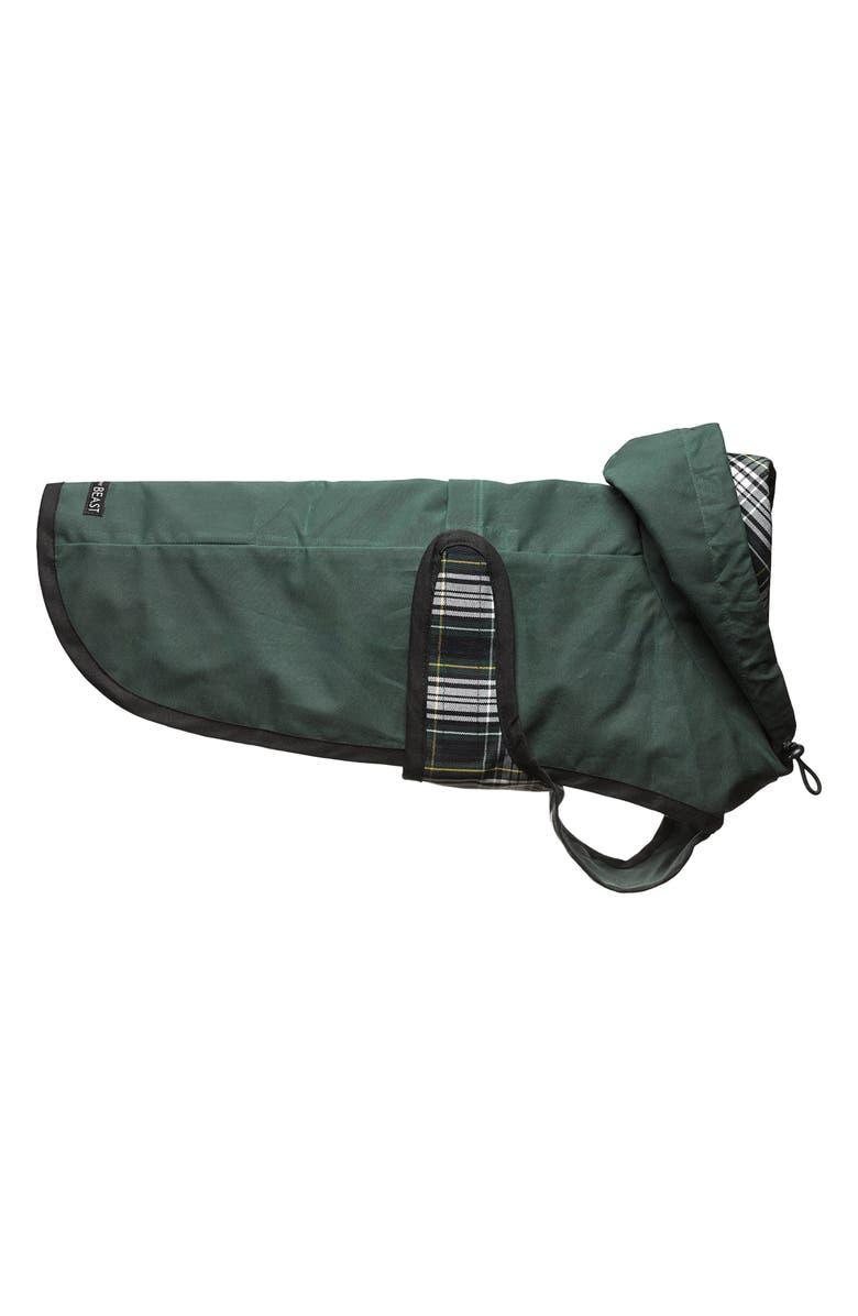 LOVETHYBEAST Hunter Green Waxed Cotton Dog Raincoat with Mesh Lining, Main, color, HUNTER GREEN