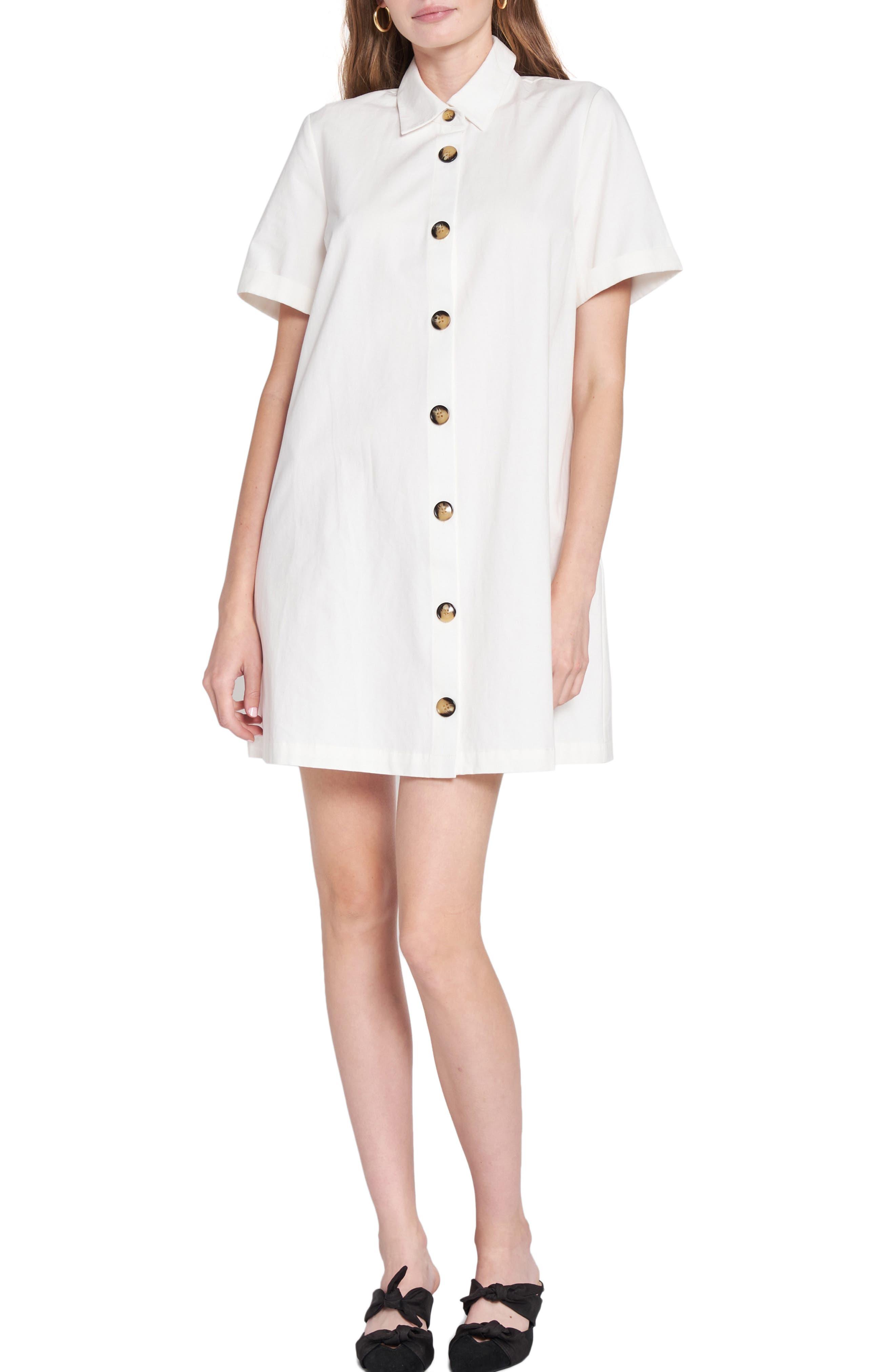 Cotton Poplin Mini Shirtdress