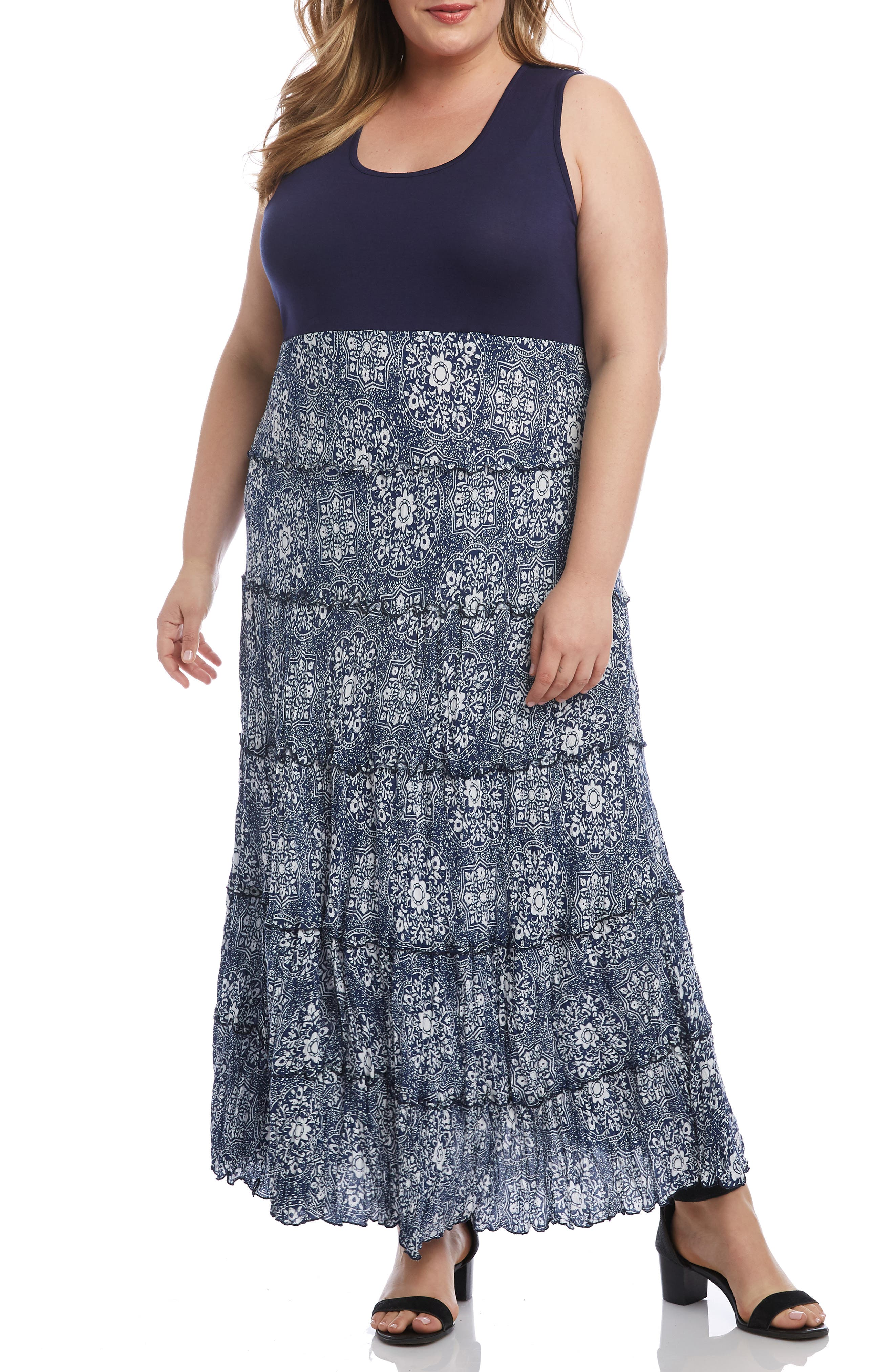 Plus Size Karen Kane Topanga Sleeveless Tiered Maxi Dress, Blue