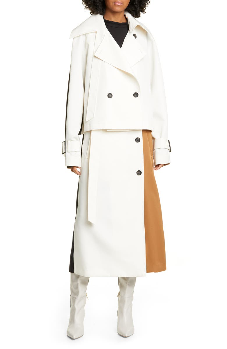 TIBI Colorblock Techy Twill Convertible Trench Coat, Main, color, 900