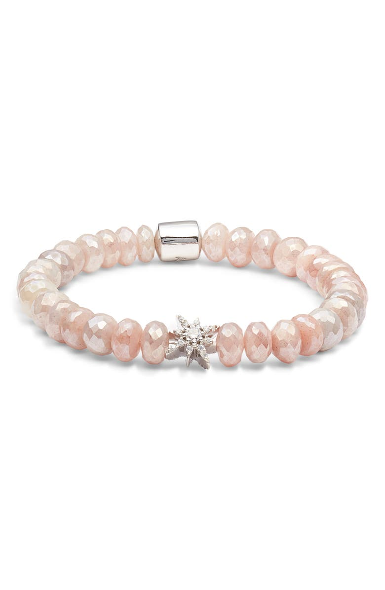 ANZIE Boheme Bracelet, Main, color, SILVER/ PINK MOONTSTONE