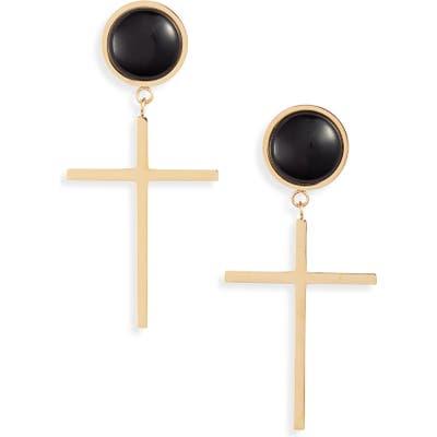 Knotty Semiprecious Stone Cross Earrings