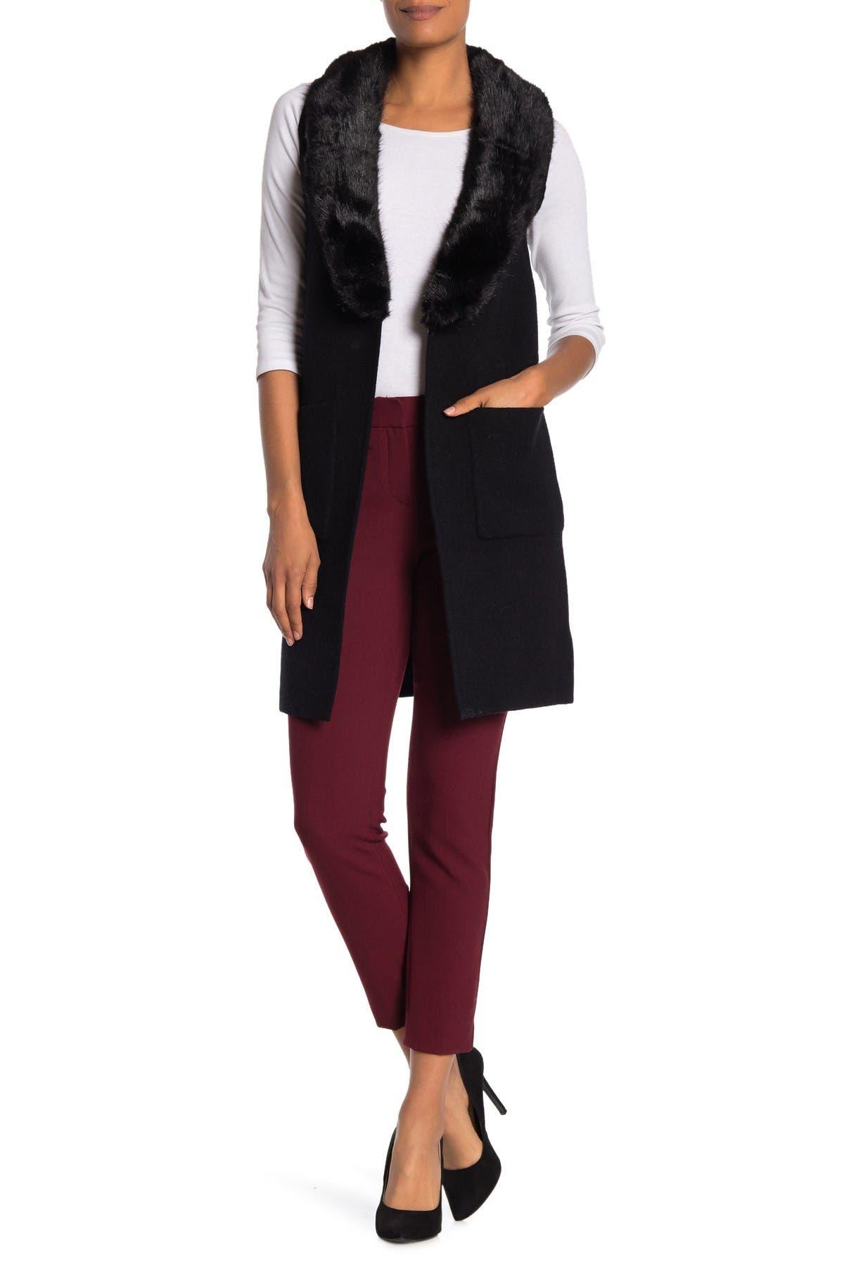Image of Love Token Faux Fur Collar Sweater Vest