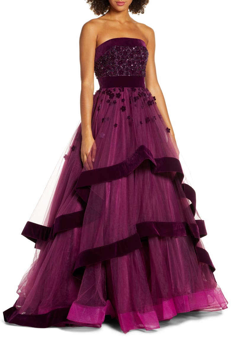 MAC DUGGAL Velvet Trim Strapless Ballgown, Main, color, BURGUNDY