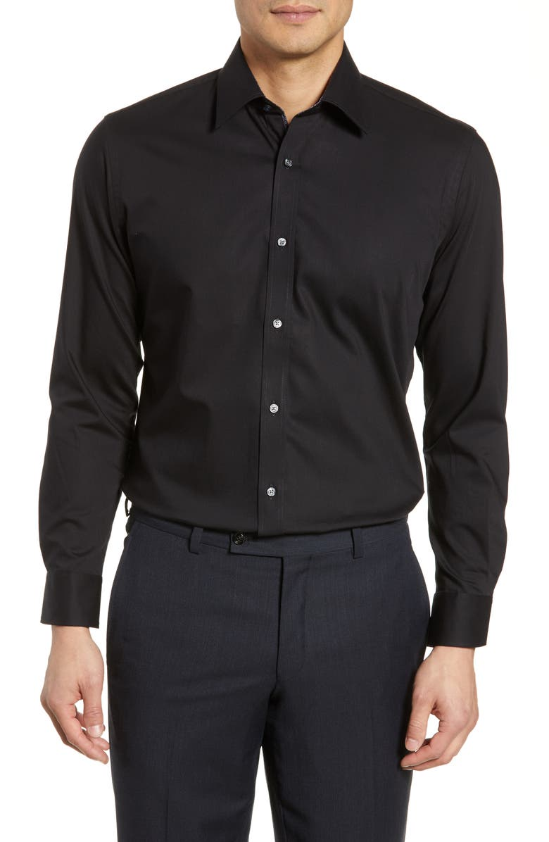 TED BAKER LONDON Endurance Extra Slim Fit Stretch Solid Dress Shirt, Main, color, BLACK