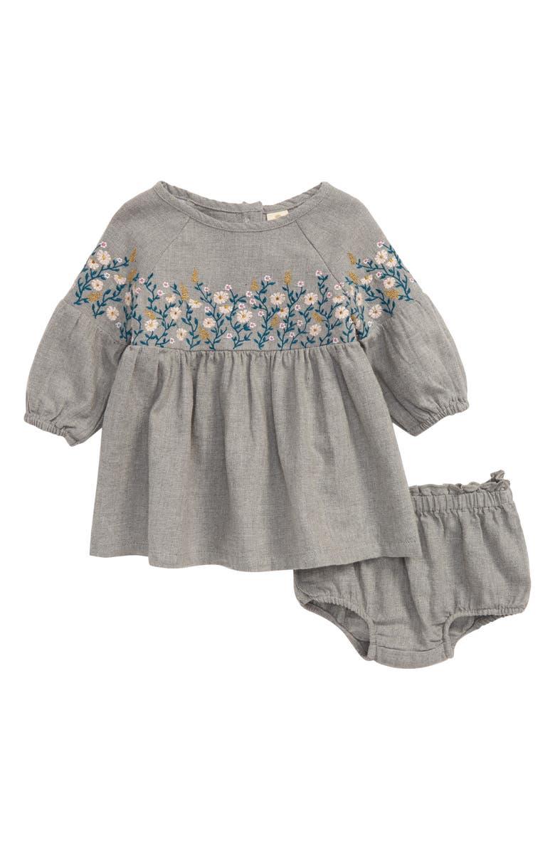 TUCKER + TATE Embroidered Dress, Main, color, GREY MEDIUM HEATHER