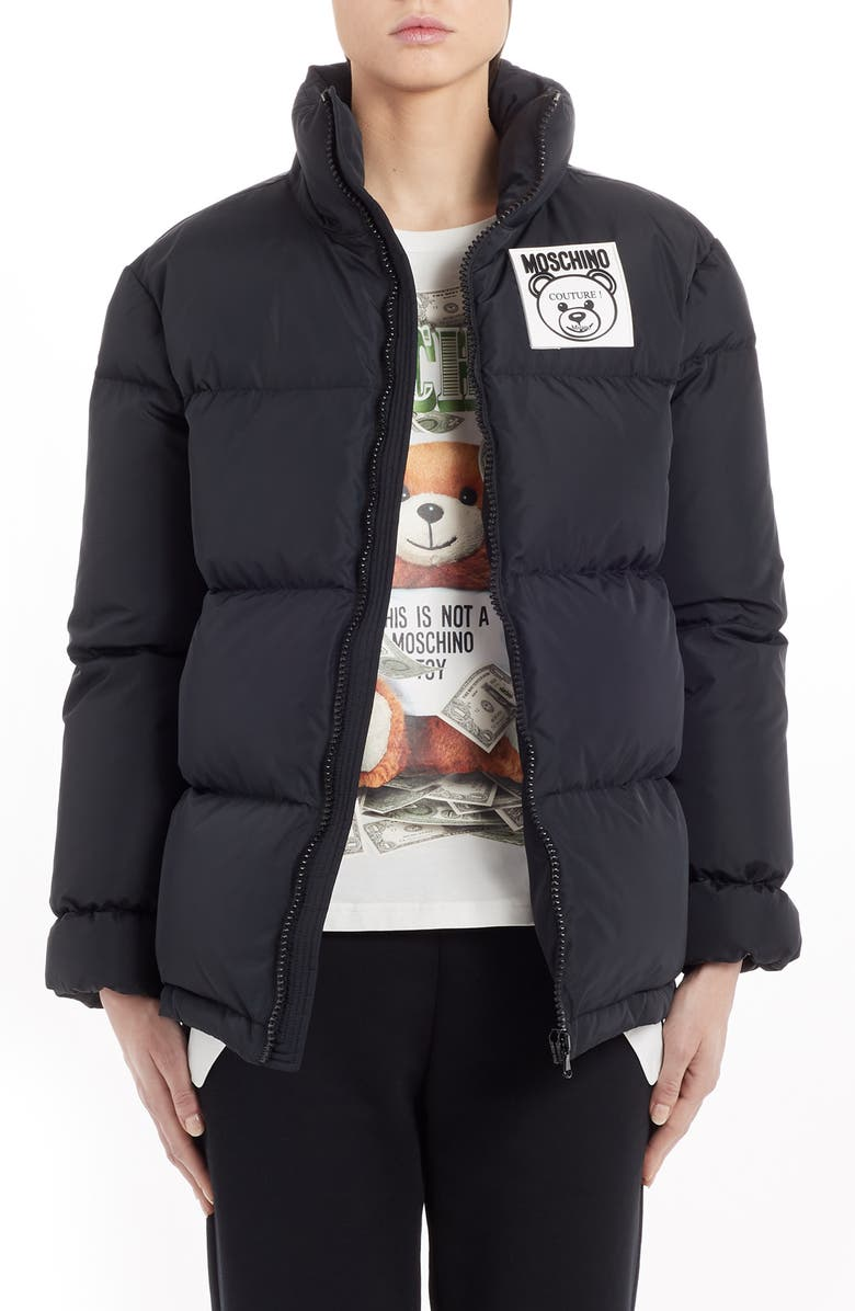 MOSCHINO Bear Logo Patch Puffer Jacket, Main, color, BLACK