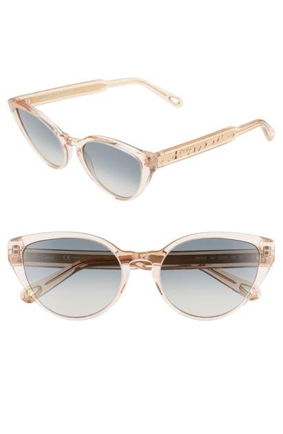 Chloé Sunglasses WILLOW 55MM CAT EYE SUNGLASSES - PEACH/ BLUE