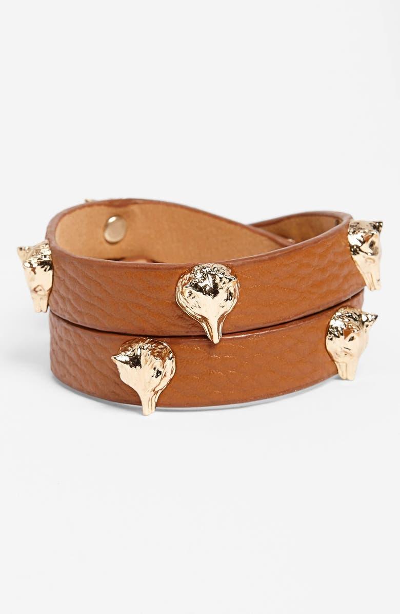 BP. Fox Head Studded Wrap Bracelet, Main, color, COGNAC/ BROWN