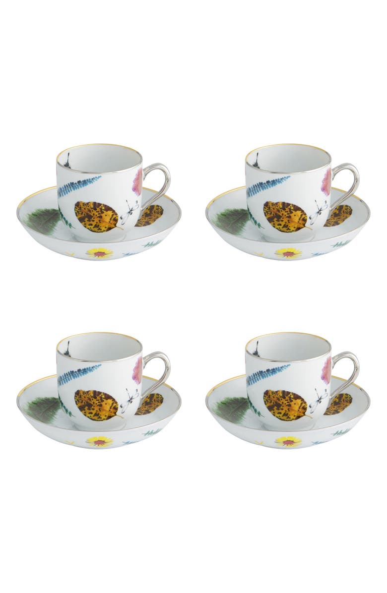 CHRISTIAN LACROIX Caribe Set of 4 Teacups & Saucers, Main, color, WHITE