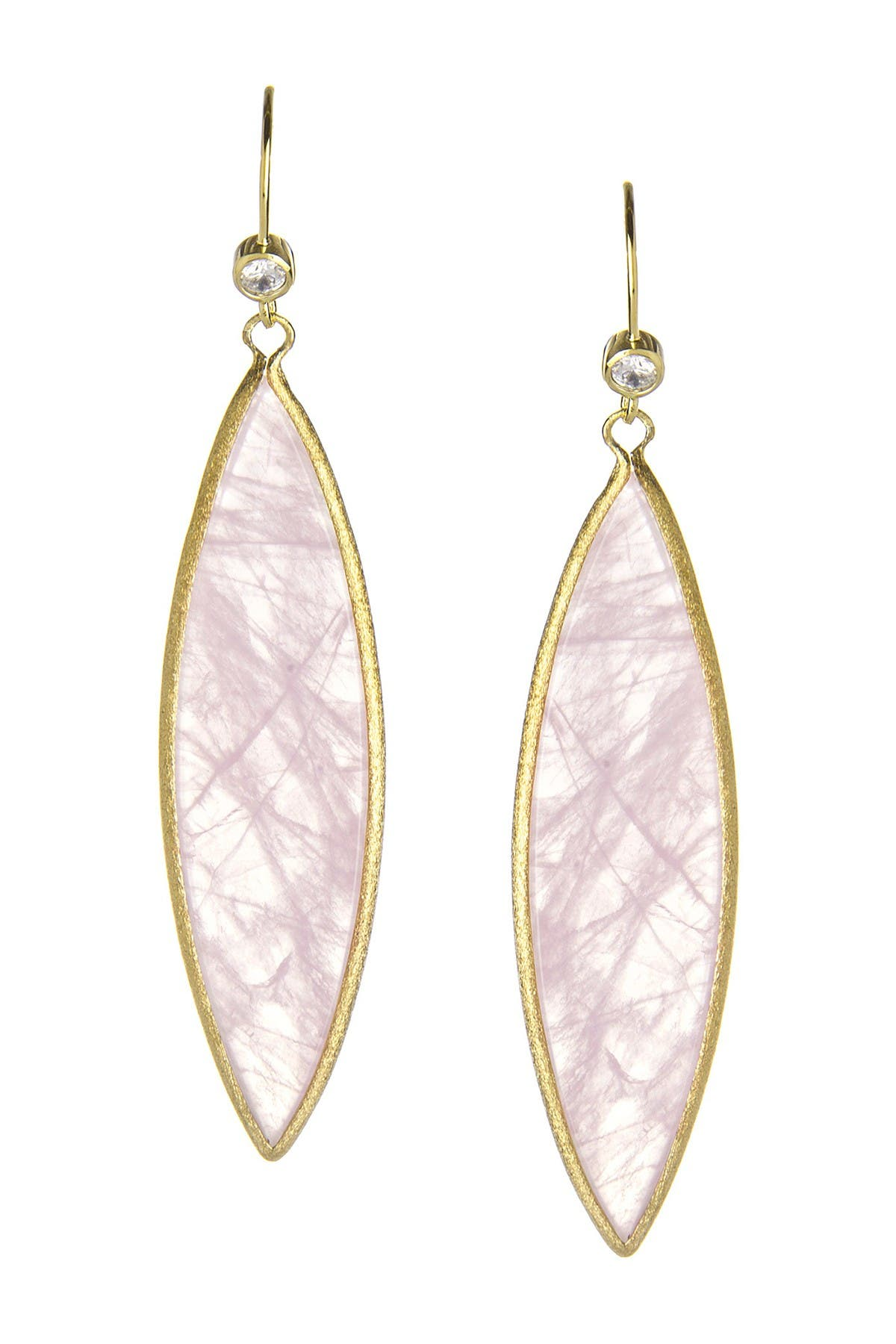 Image of Rivka Friedman Elongated Rose Quartz Marquis Drop Earrings