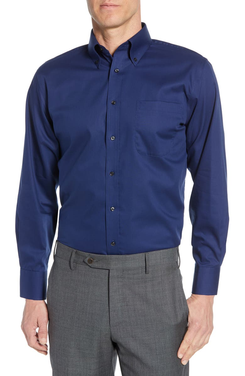 NORDSTROM MEN'S SHOP Nordstrom Mens Shop Traditional Fit Non-Iron Dress Shirt, Main, color, NAVY MEDIEVAL