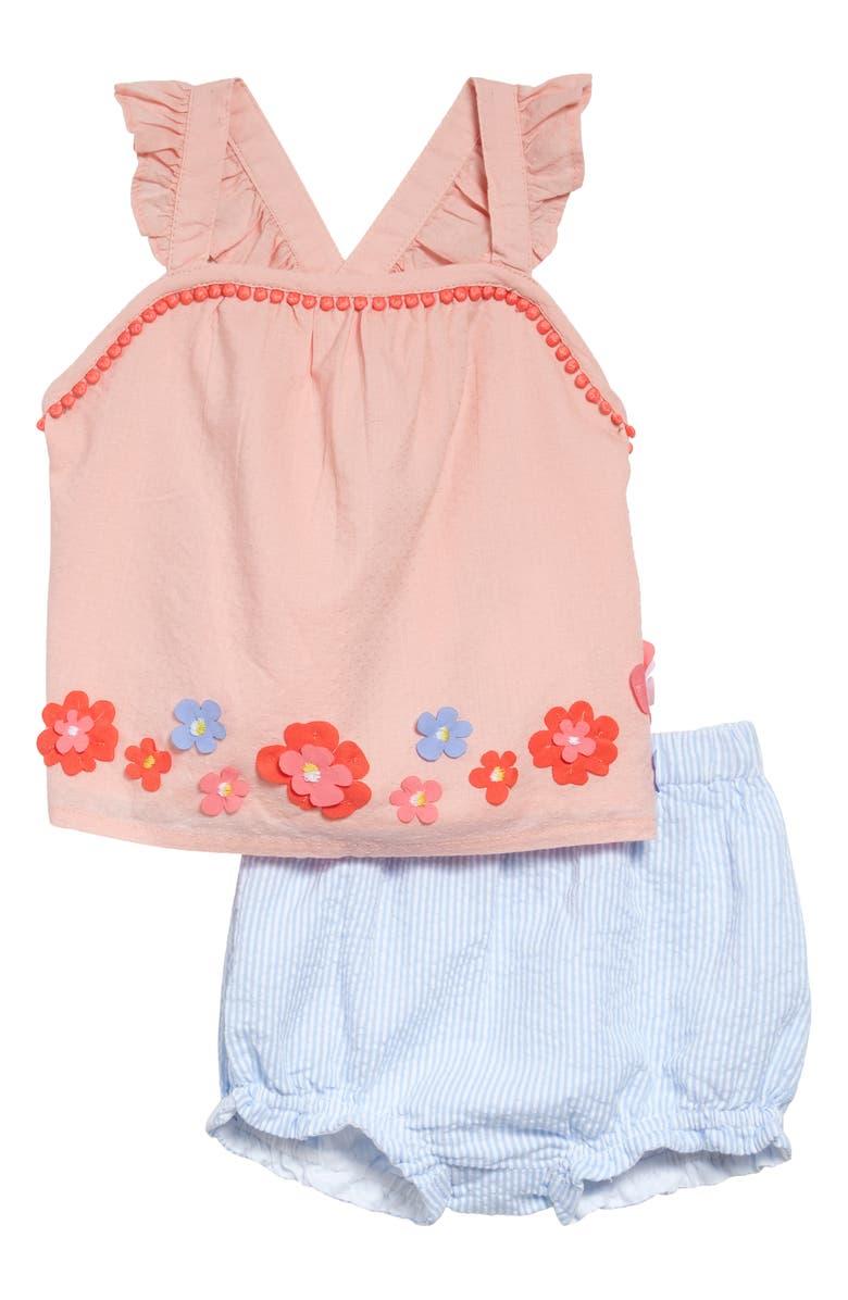 BODEN Flutter Appliqué Tank & Bubble Shorts Set, Main, color, PROVENCE BLUE TICKING FLORAL
