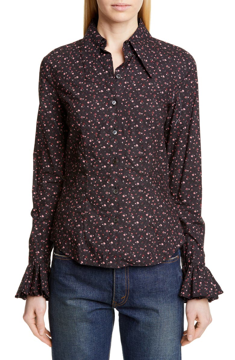 MICHAEL KORS COLLECTION Michael Kors Ruffle Cuff Vintage Floral Print Shirt, Main, color, BLACK/ ROSEWOOD