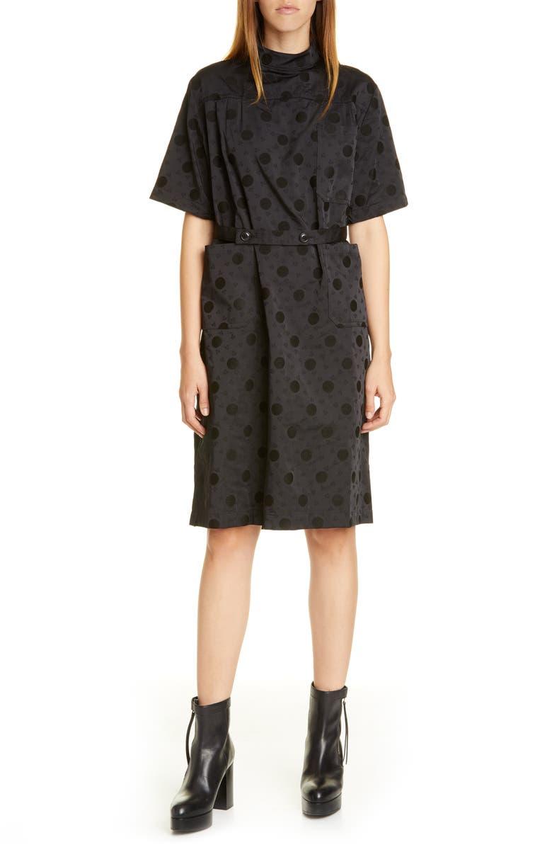 TRICOT COMME DES GARÇONS Jacquard Dot Dress, Main, color, BLACK