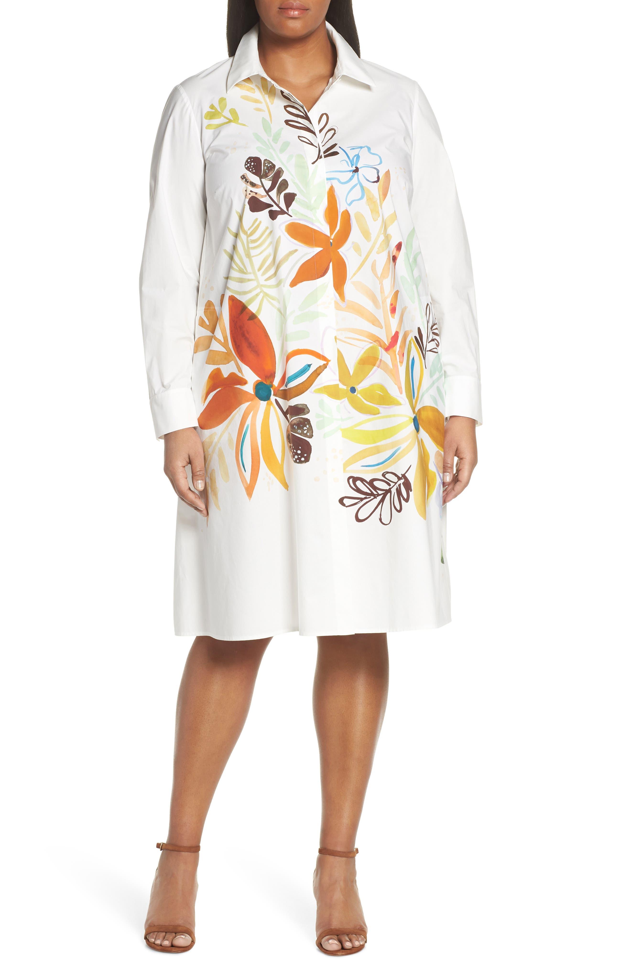 Porto A-Line Shirtdress, Main, color, WHITE MULTI